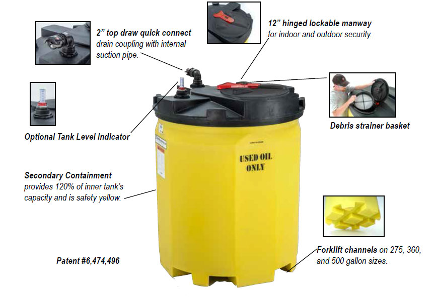 Snyder 150 Gallon Waste Oil Storage Tank