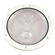 "4"" Inspection Lid - White Collar, Clear Lid"